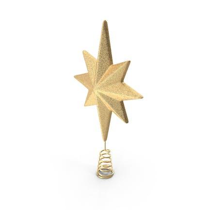 Золотая звезда Рождественская елка Топпер