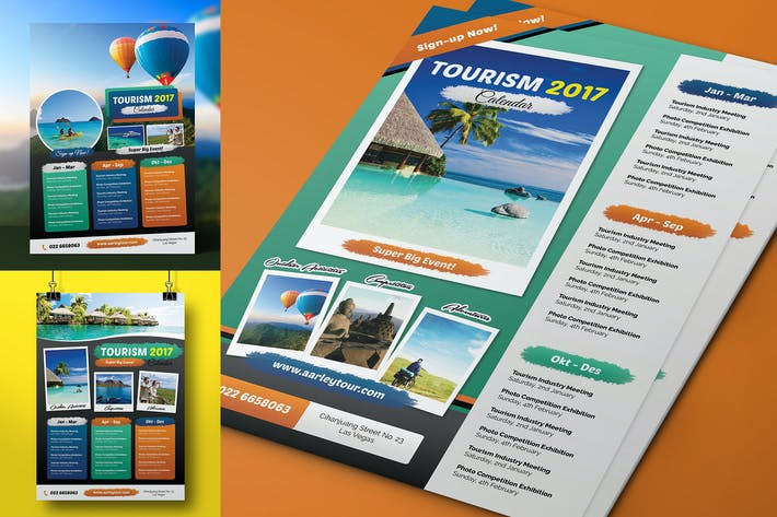 Thumbnail for Tourism Events Calendar Flyer Template