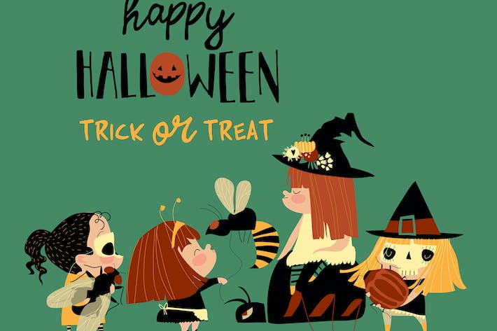 Thumbnail for Cute little Halloween redheaded witches with insec