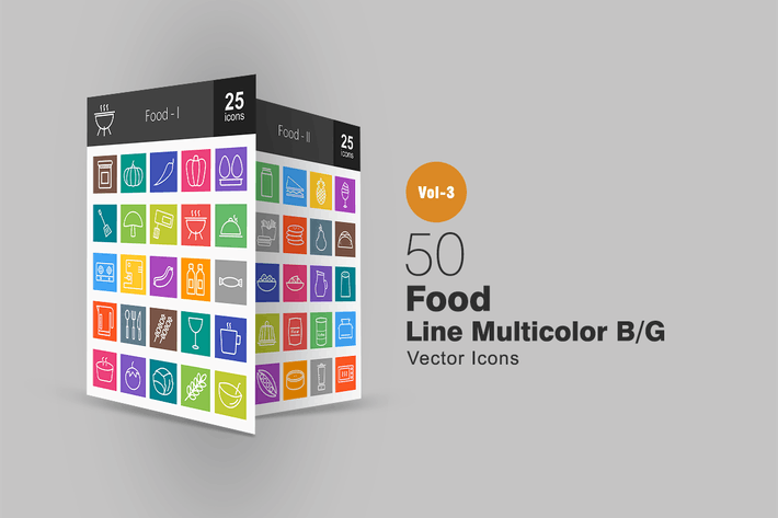 Thumbnail for 50 Food Line Multicolor Icons