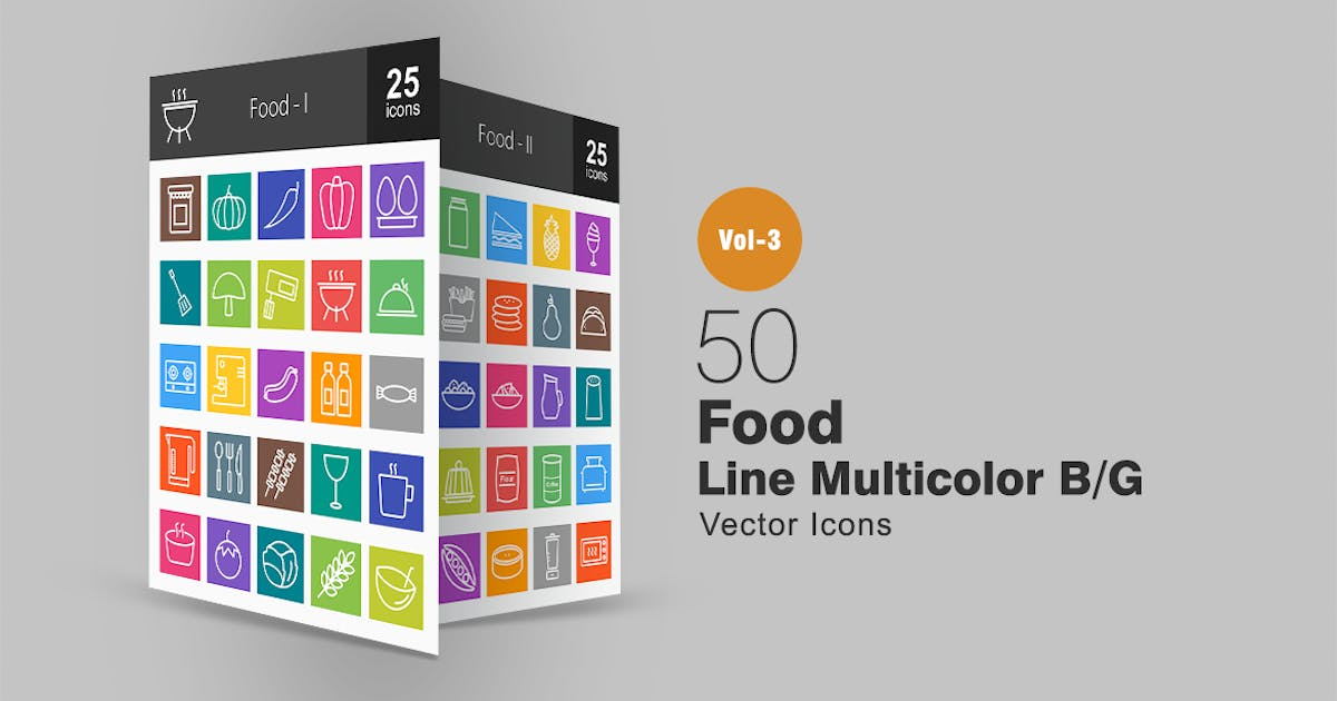 Download 50 Food Line Multicolor Icons by IconBunny