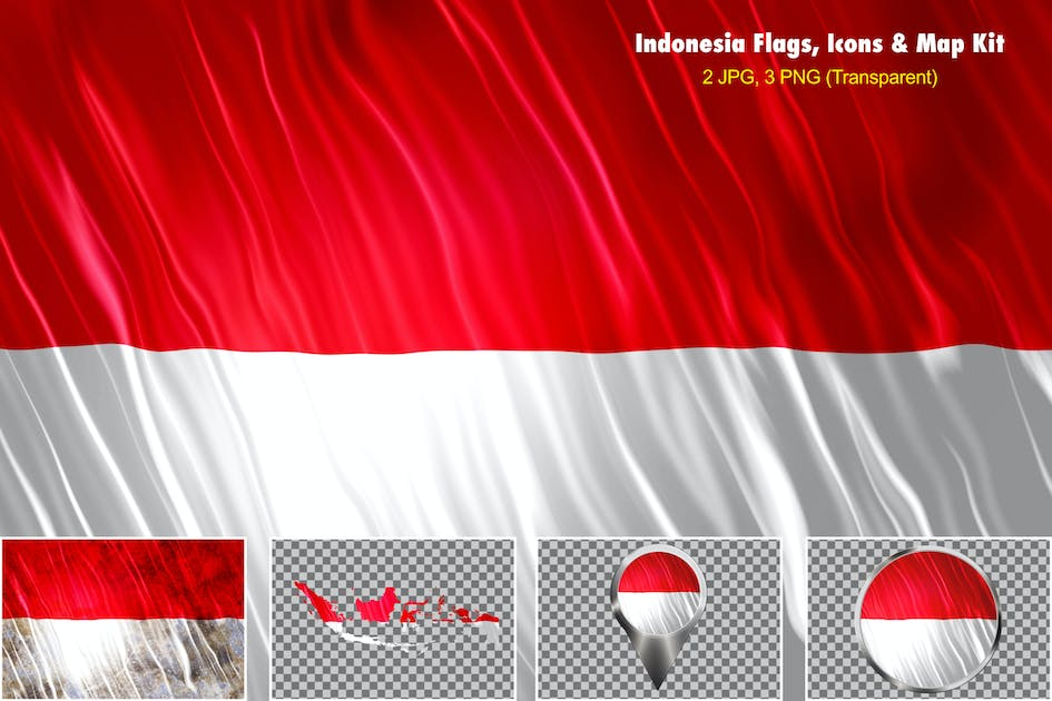 Download Indonesia Flags Icons Map Kit by StrokeVorkz