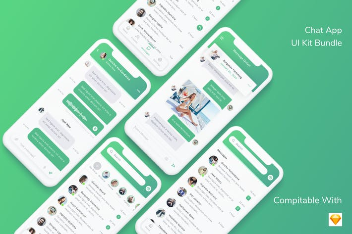 Thumbnail for Chat App UI Kit Bundle - Sketch