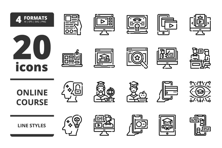 Thumbnail for Online course LIne icons packs