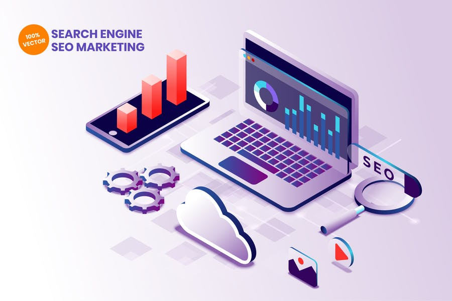 Motor de búsqueda isométrica SEO Marketing Vector