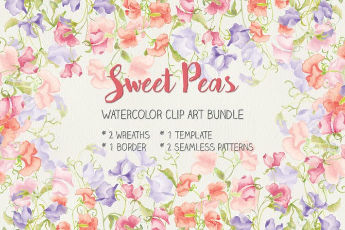 Cover Image For Sweet Peas: Clip Art and Patterns in Watercolor