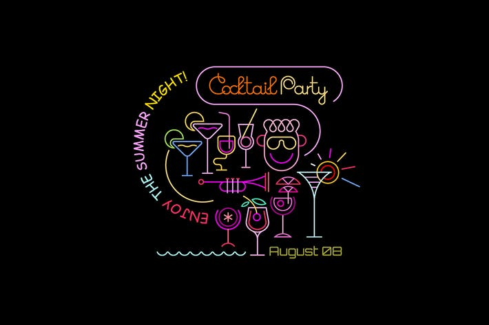 Thumbnail for Cocktail Party neon colors poster designs
