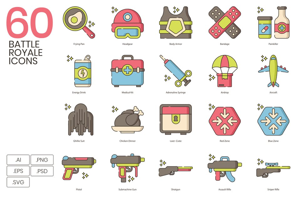 Download 60 Battle Royale Icons | Hazel Series by Krafted