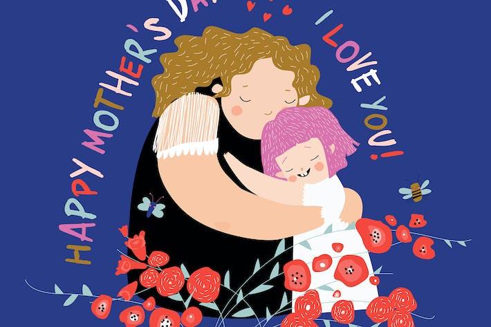 Thumbnail for Niedliche Mutter umarmt ihre Tochter. Glückliche Mütter