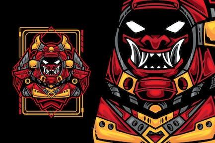 Raum Samurai Roboter-Vektor-Illustration