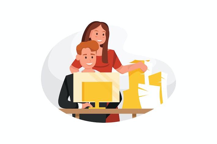 Thumbnail for Geschäftsmann arbeiten am Computer am Tisch