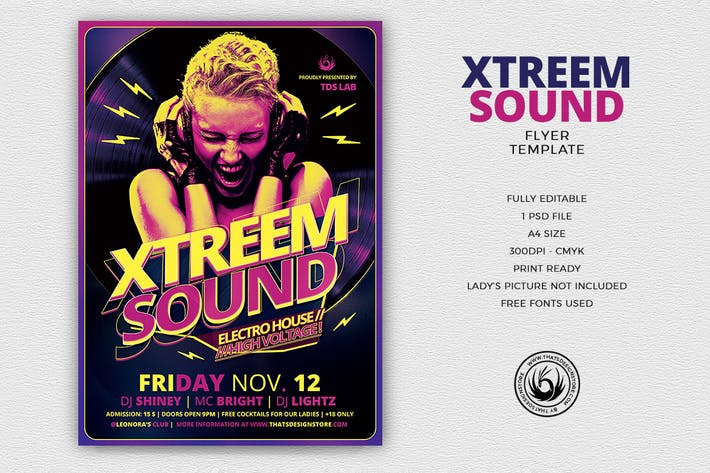Thumbnail for Xtreem Sound Flyer Template