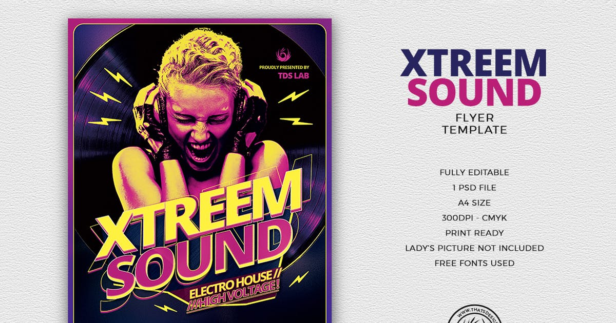 Xtreem Sound Flyer Template by lou606