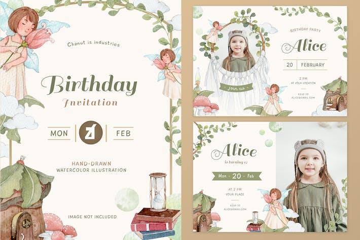 Thumbnail for Fairy Tale theme birthday invitation card