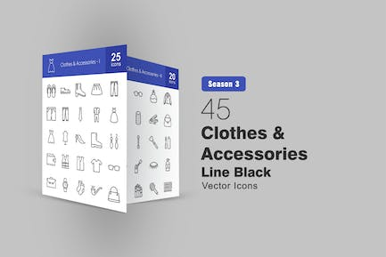 45 Clothes & Accessories Line Icons
