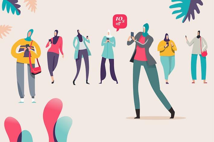 Thumbnail for Activité des femmes musulmanes sur smartphone