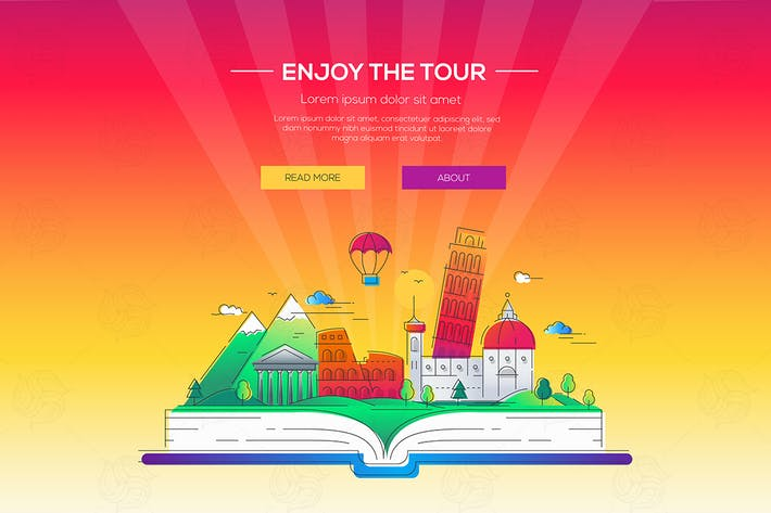 Thumbnail for Enjoy the tour - vector line travel illustration