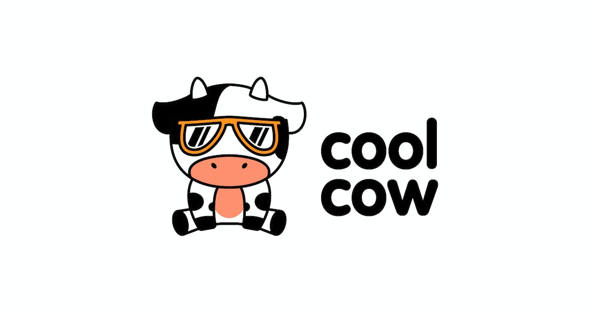 Download Cartoon Cute Cool Little Cow Character Mascot Logo by Suhandi