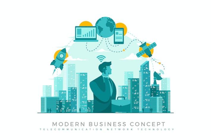 Telecommunication Network Modern Business Concept
