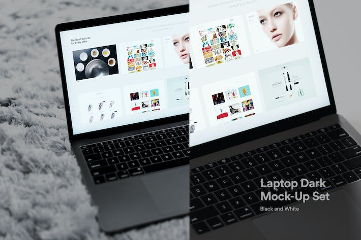 Thumbnail for Laptop Mockups Dark