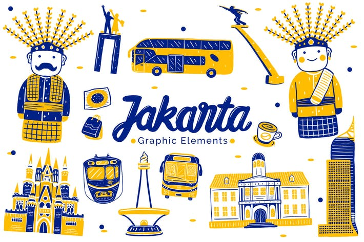 Thumbnail for Jakarta Wahrzeichen Grafikelemente