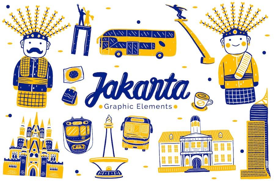 Jakarta Landmark Graphic Elements