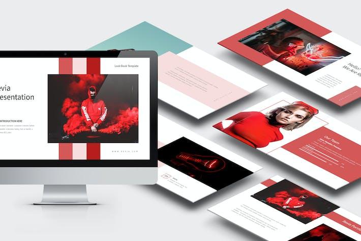 Ревия: красный градиент цвета, тон Powerpoint