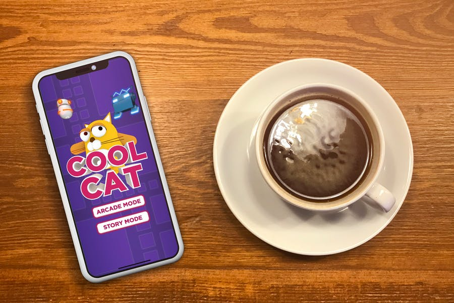 IPhone X Mock Up - Cafe Americano on a Table