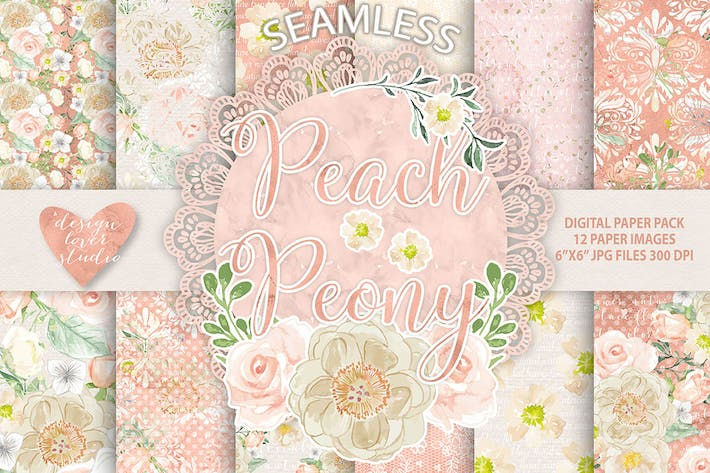Thumbnail for Peach Peony digital paper pack