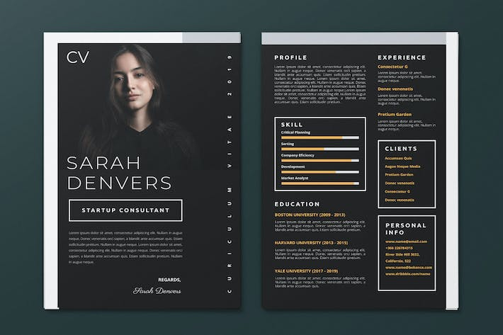 Thumbnail for Clean Minimalist CV Resume AI and PSD Flyer Vol.29