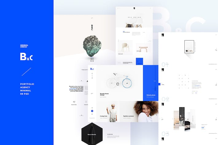 Thumbnail for B&C - Portfolio Agency minimal PSD Template