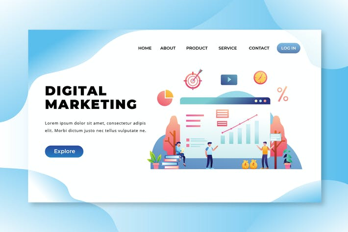 Thumbnail for Digital Marketing - PSD and AI Vector Landing Page