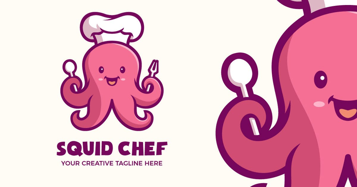 Download Cute Squid Chef Seafood Mascot Character Logo by MightyFire_STD