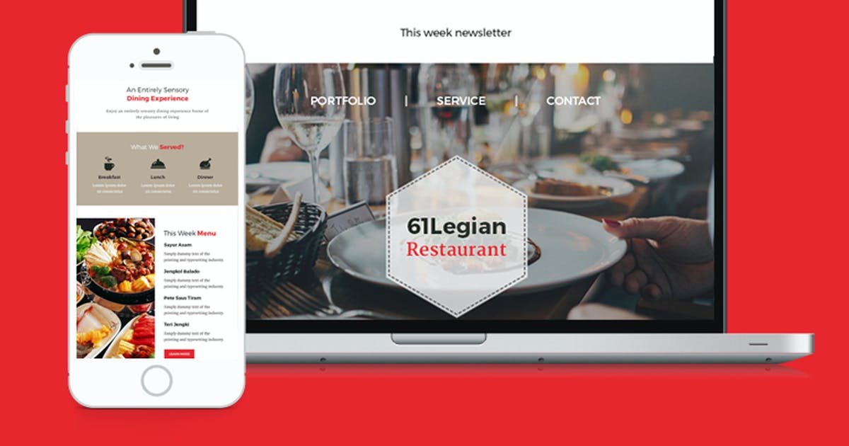 Download 61 Legian Restaurant Email Template by giantdesign