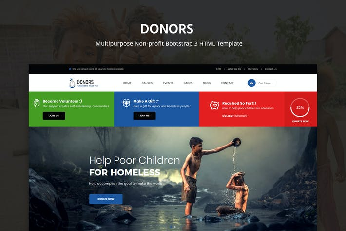 Cover Image For Donors - Multipurpose Bootstrap 3 HTML Template