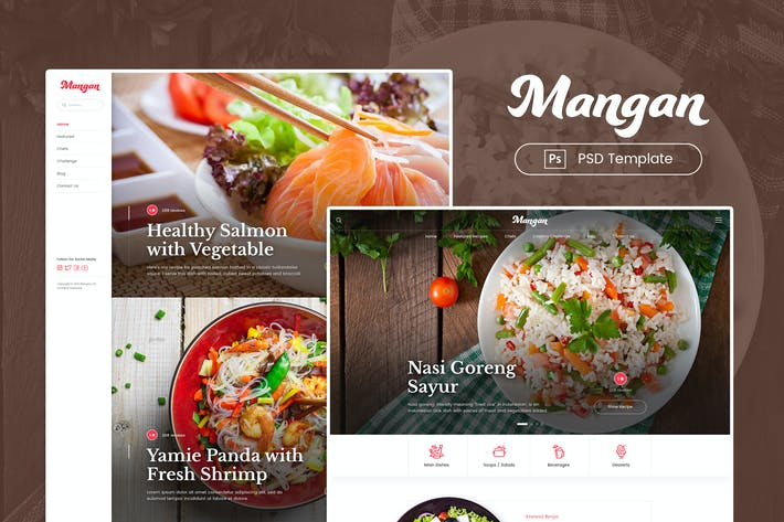 Thumbnail for Mangan - Food Recipe Sharing PSD Template