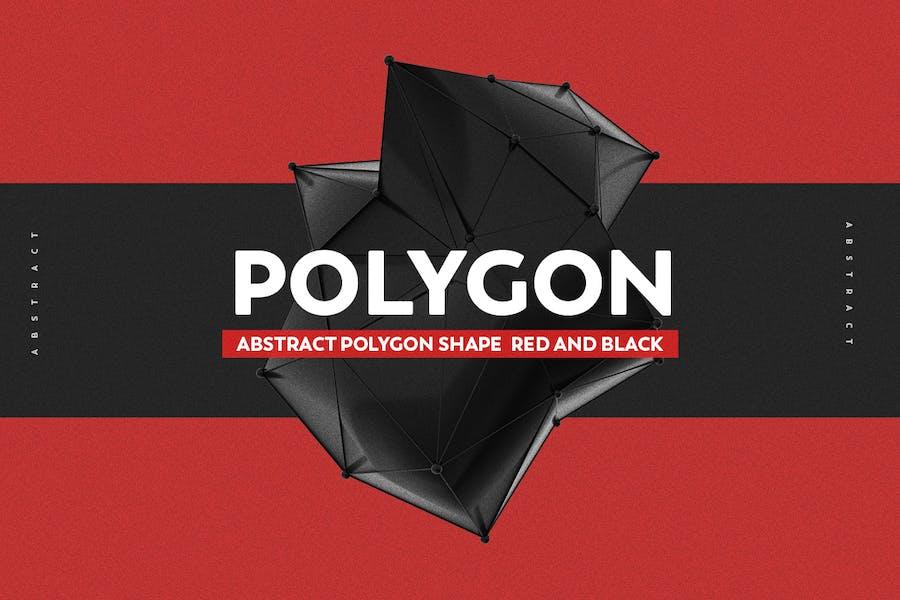 Abstrakte Polygonform Rot Und Schwarz
