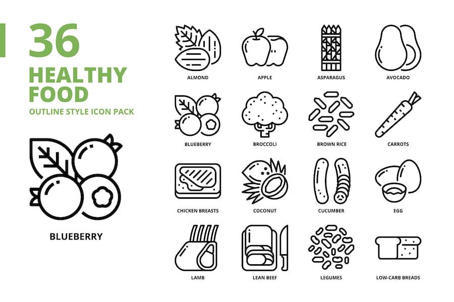 Conjunto de iconos estilo de contorno de alimentos saludables