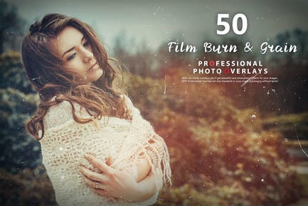 50 Film Burn & Grain Photo Overlays