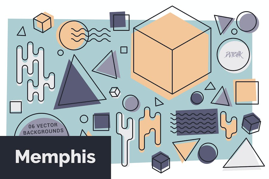 Memphis  Abstract Colorful Vector Backgrounds