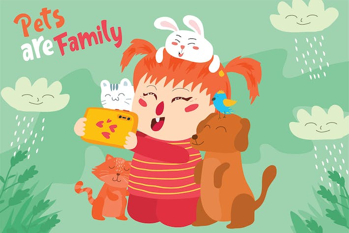 Thumbnail for Pets are Family - Vector Illustration
