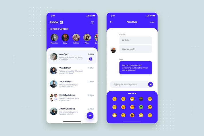 Thumbnail for Messenger Mobile App UI Kit Template