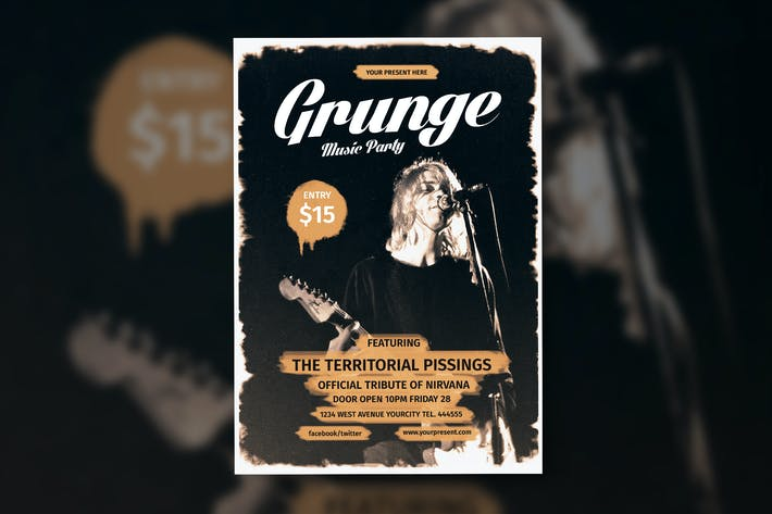 Cover Image For Grunge Music Flyer