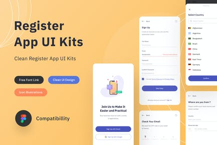 Register App Ui Kits - Sqtemp