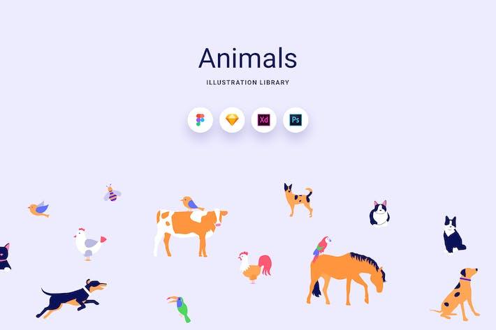 Thumbnail for Animals - Vector Illustration Library Kit