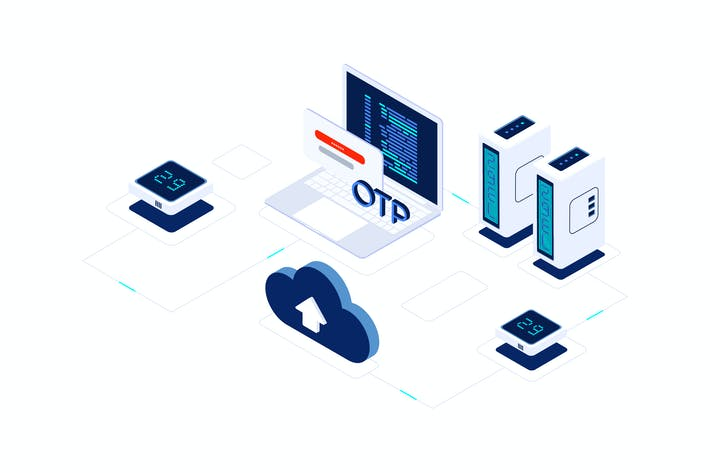 Thumbnail for Cloud Data Encryption Blockchain Isometric 2 - T2