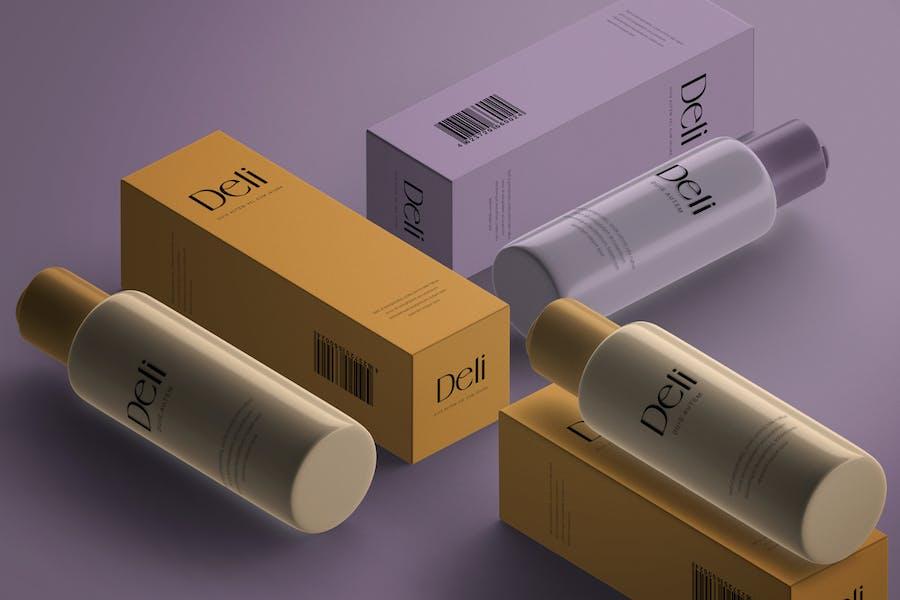 Isometric Cosmetics Bottle & Paper Box Mockup
