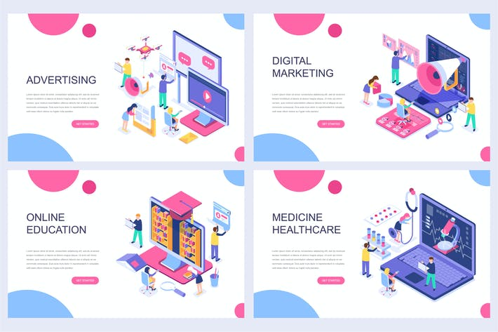 Cover Image For Landing Page Templates Isometric Concept