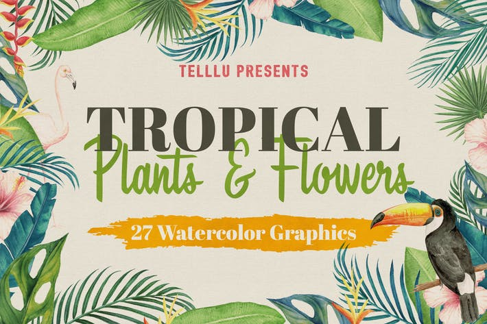 Thumbnail for Watercolor Tropical Collection 1: Plants & Flowers