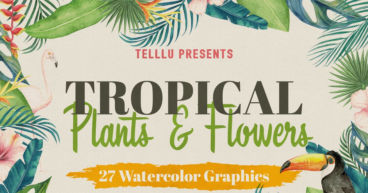 Download Watercolor Tropical Collection 1: Plants & Flowers by telllu